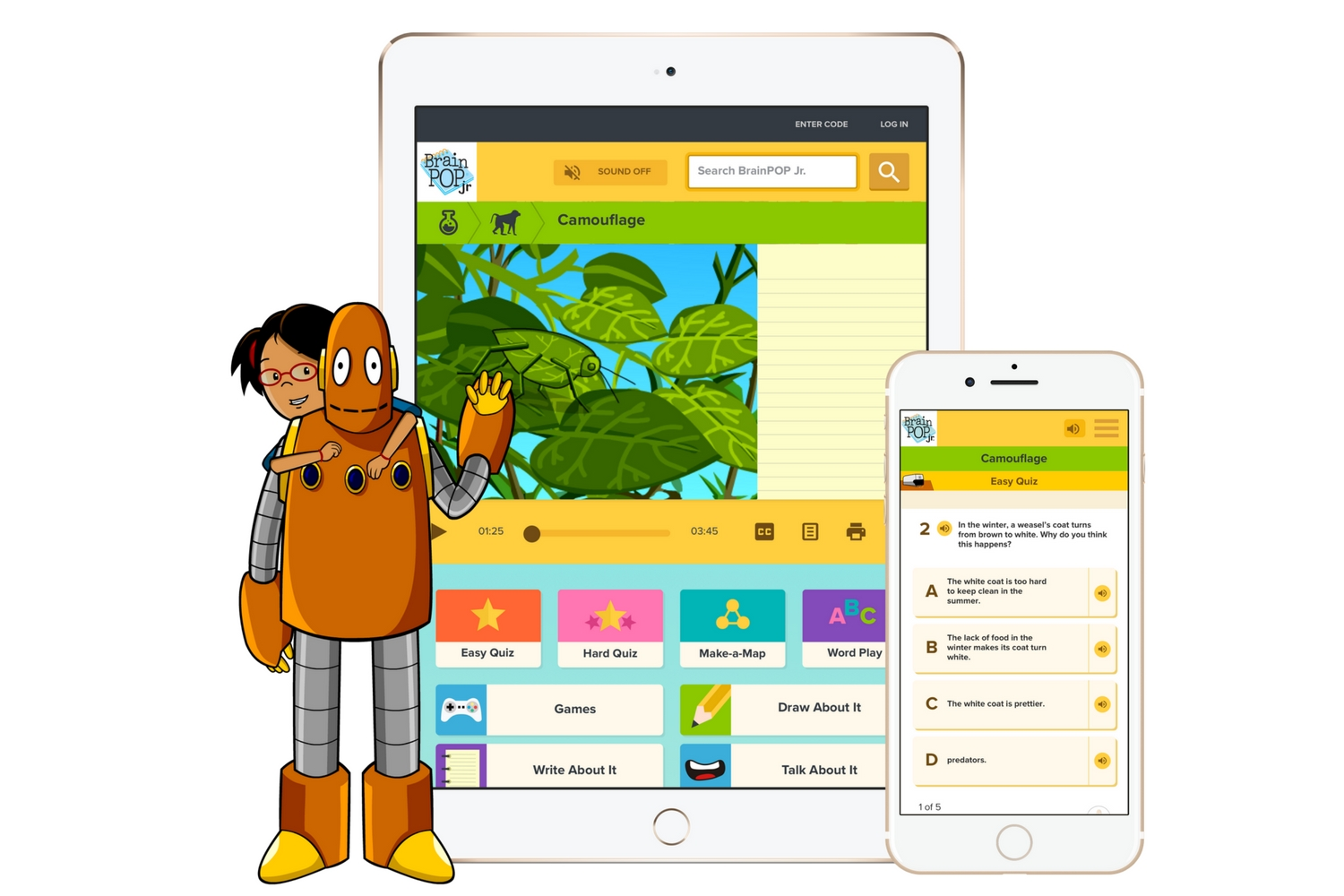 Super duper tablet friendly - All of BrainPOP Jr's resources have been optimised for use on mobile devices. So if your little ones are iPad crazy, or your school has invested in mobile devices, you can be sure of a simple and seamless experience with BrainPOP Jr.