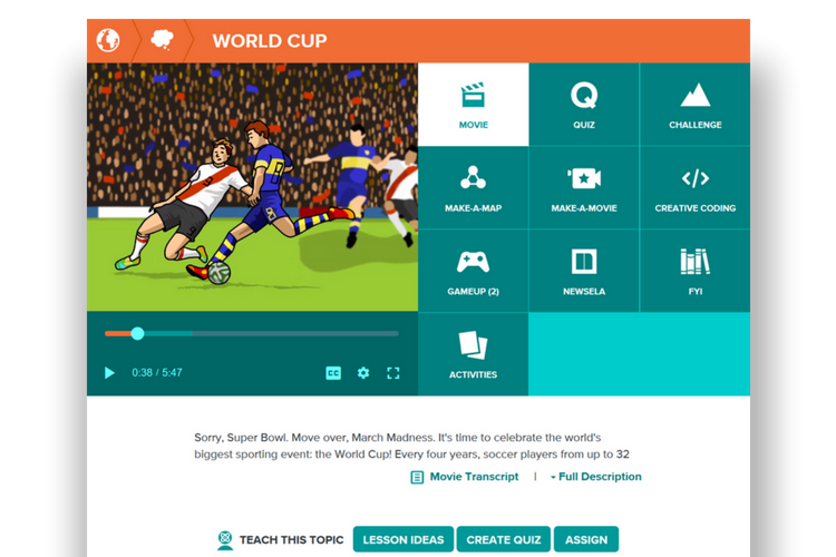 World Cup resources on BrainPOP