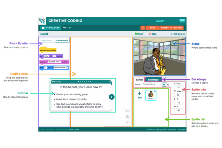 Creative coding on BrainPOP