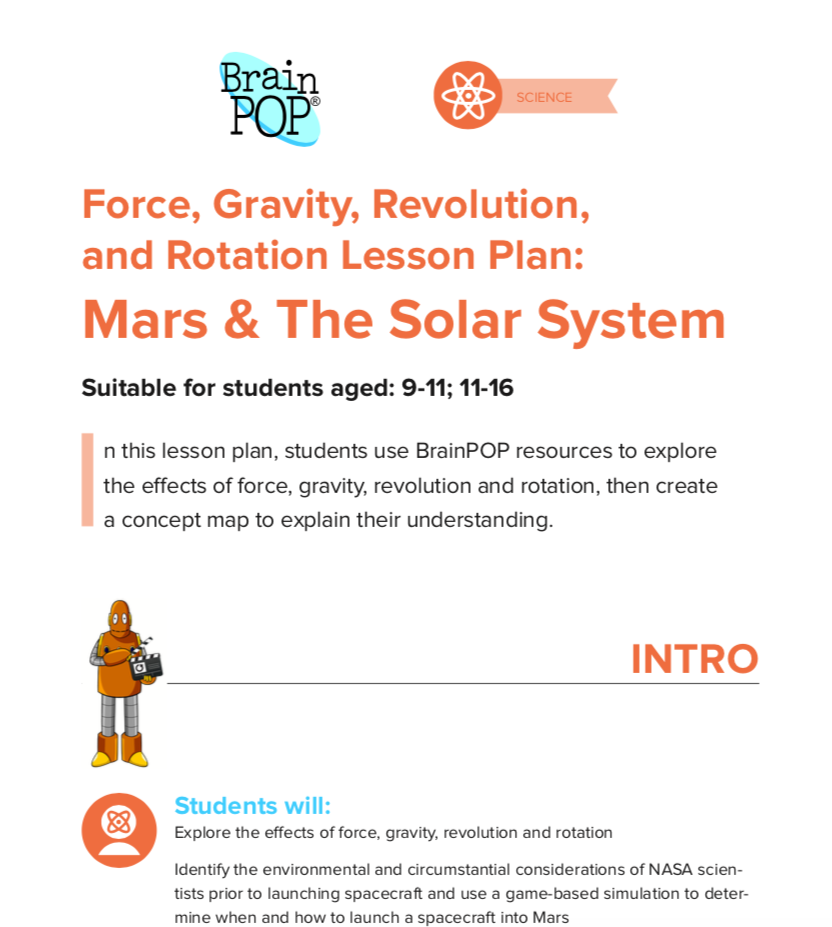 Force, Gravity, Revolution, and Rotation Lesson Plan - A 'Forces' lesson about Mars using our 'Build a Solar System' game