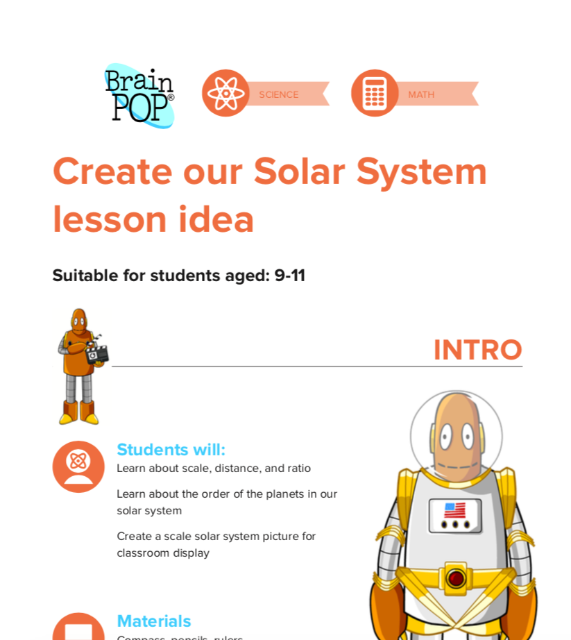 Create our Solar System lesson idea - Blast off from Mars into the Solar system and learn about Learn about scale, distance, and ratio, and the order of the planets in our solar system