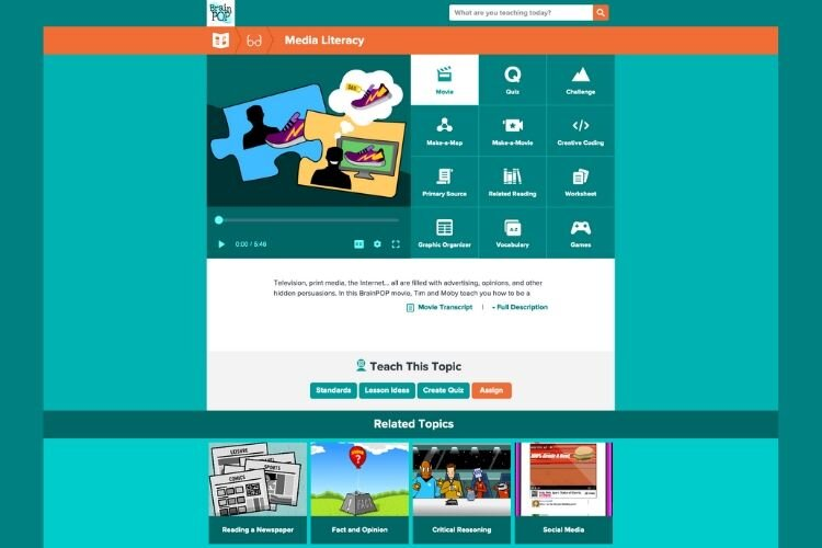 Media Literacy on BrainPOP