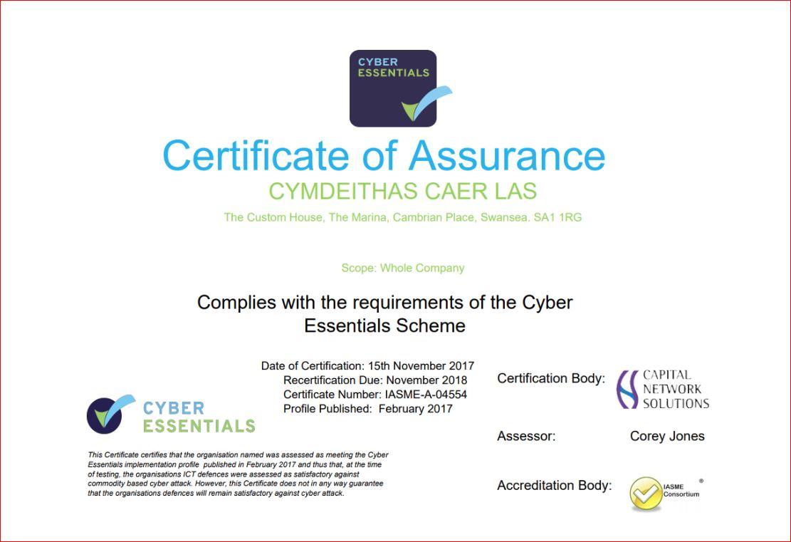 Cyber Essentials Certificate 2017