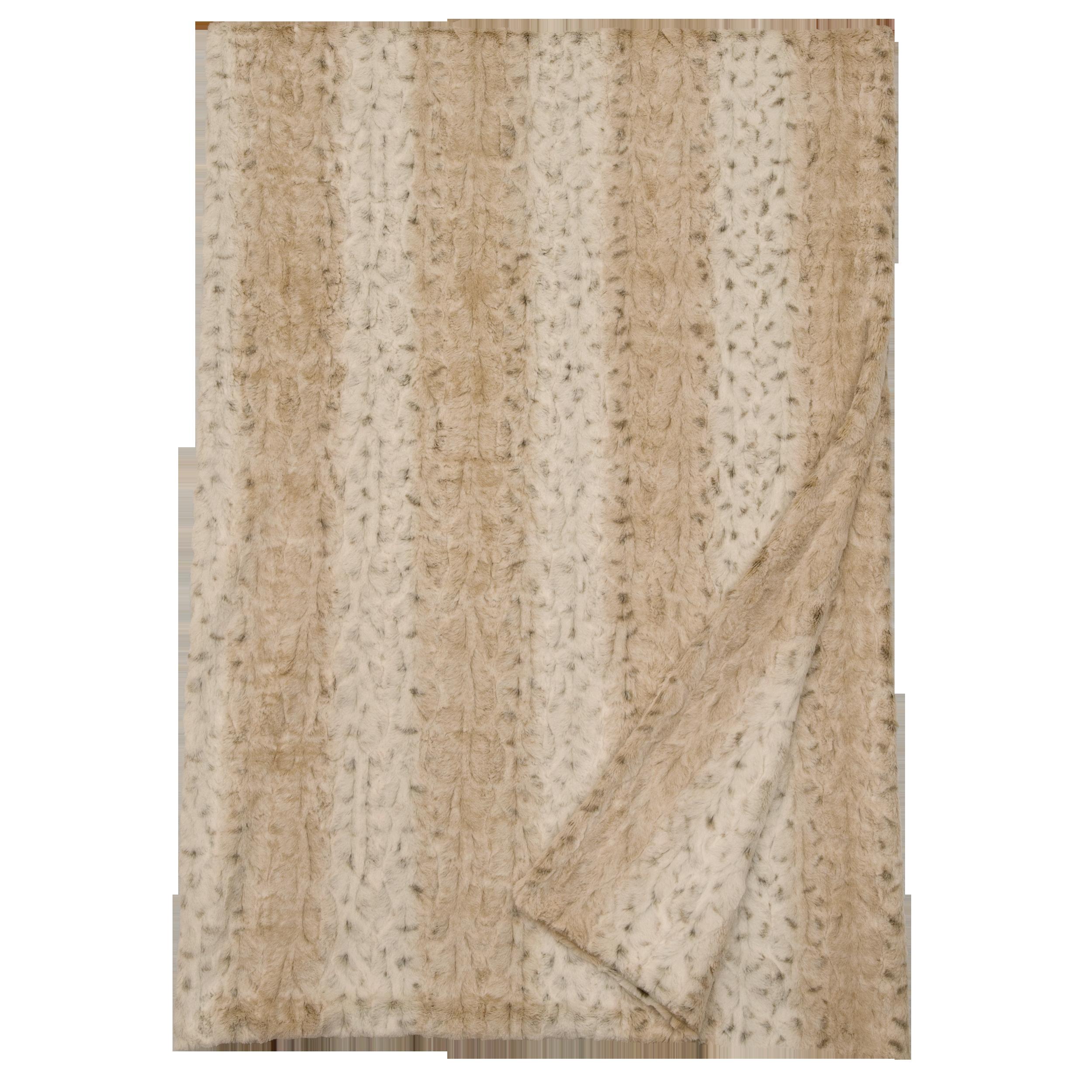 """Pearl Leopard Cuddle Fur Throw - 54/60"""" x 72"""
