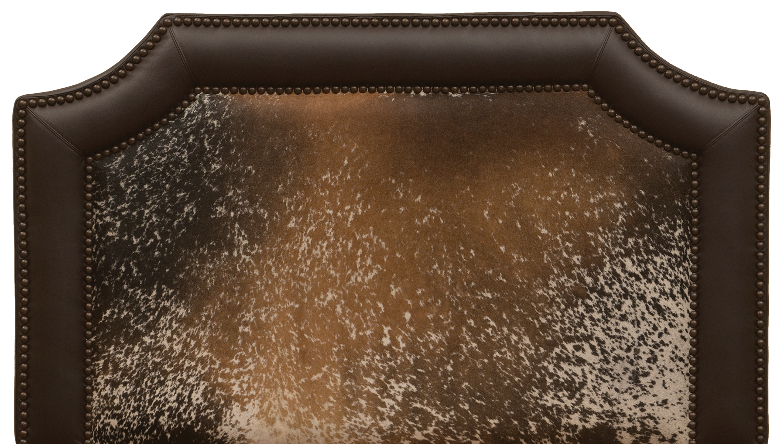 Outlaw Headboard - Shown in Dark Brown Speckled Hair on HIde, Mesa leather band and antique brown nail heads