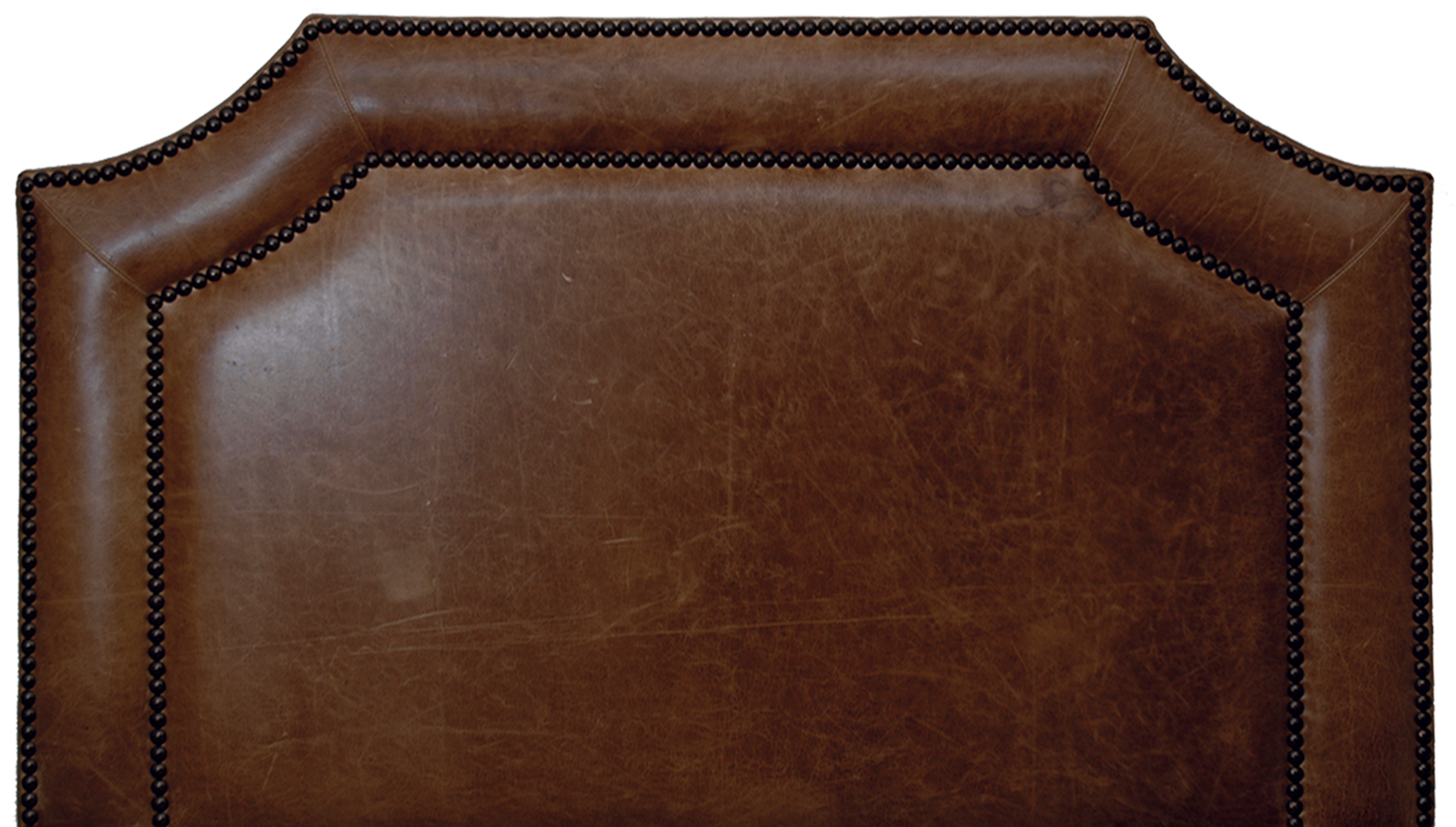 Outlaw Headboard - Shown in Butte leather with antique brown nail heads