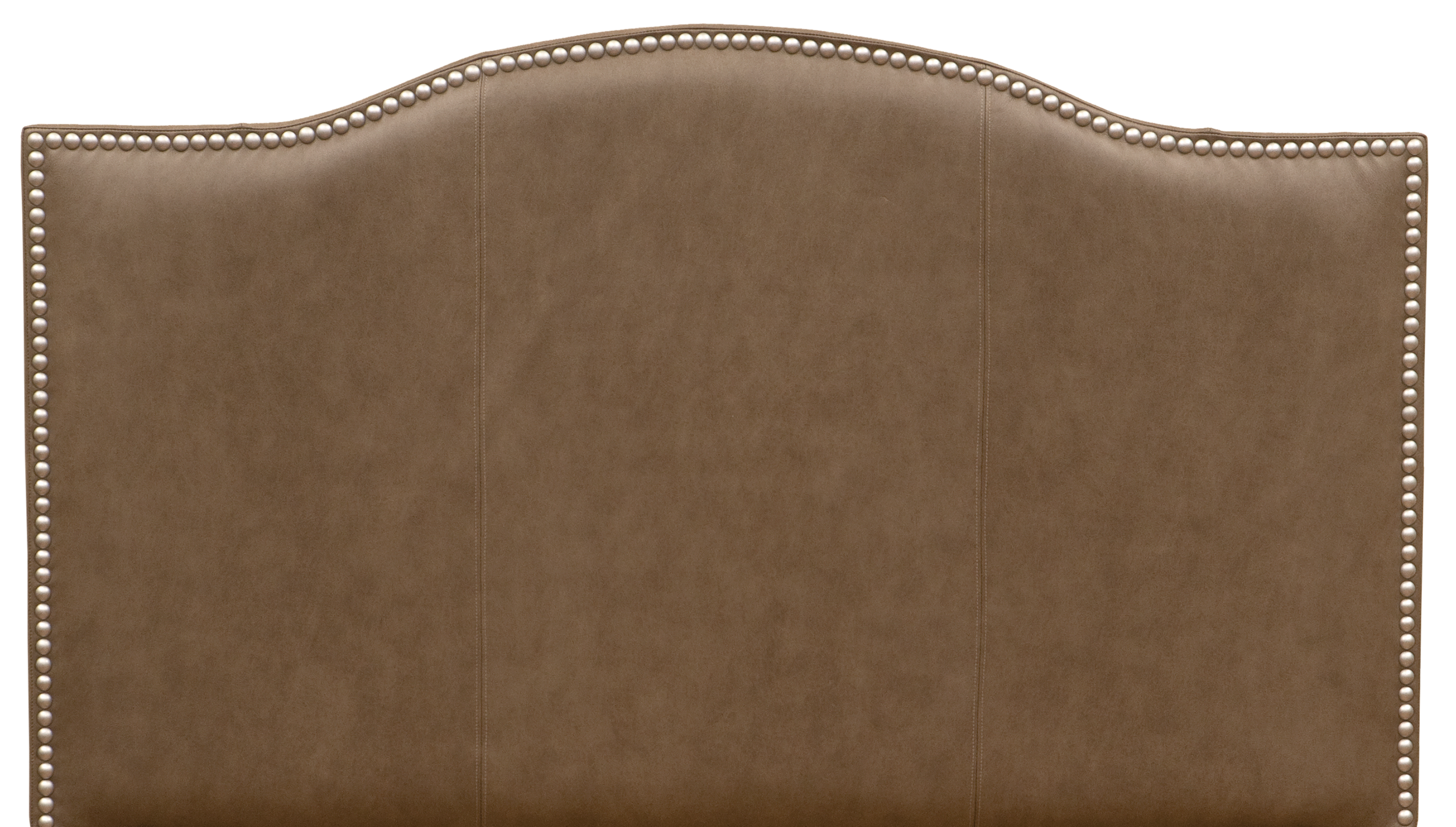 Serenity Headboard - Shown in Silver Fox leather with antique silver nail heads