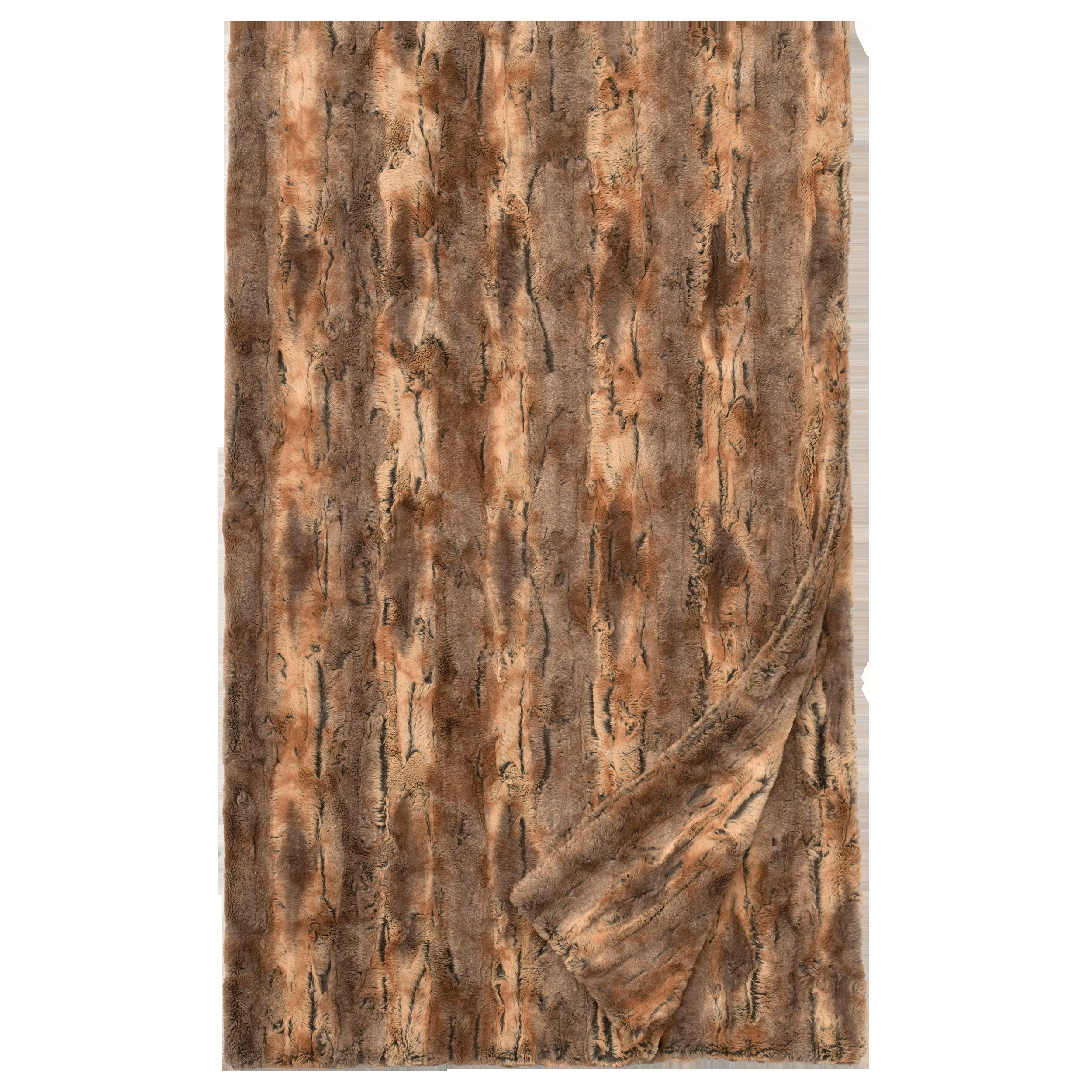 """Amber Fox Cuddle Fur Throw - 54/60""""x 72"""