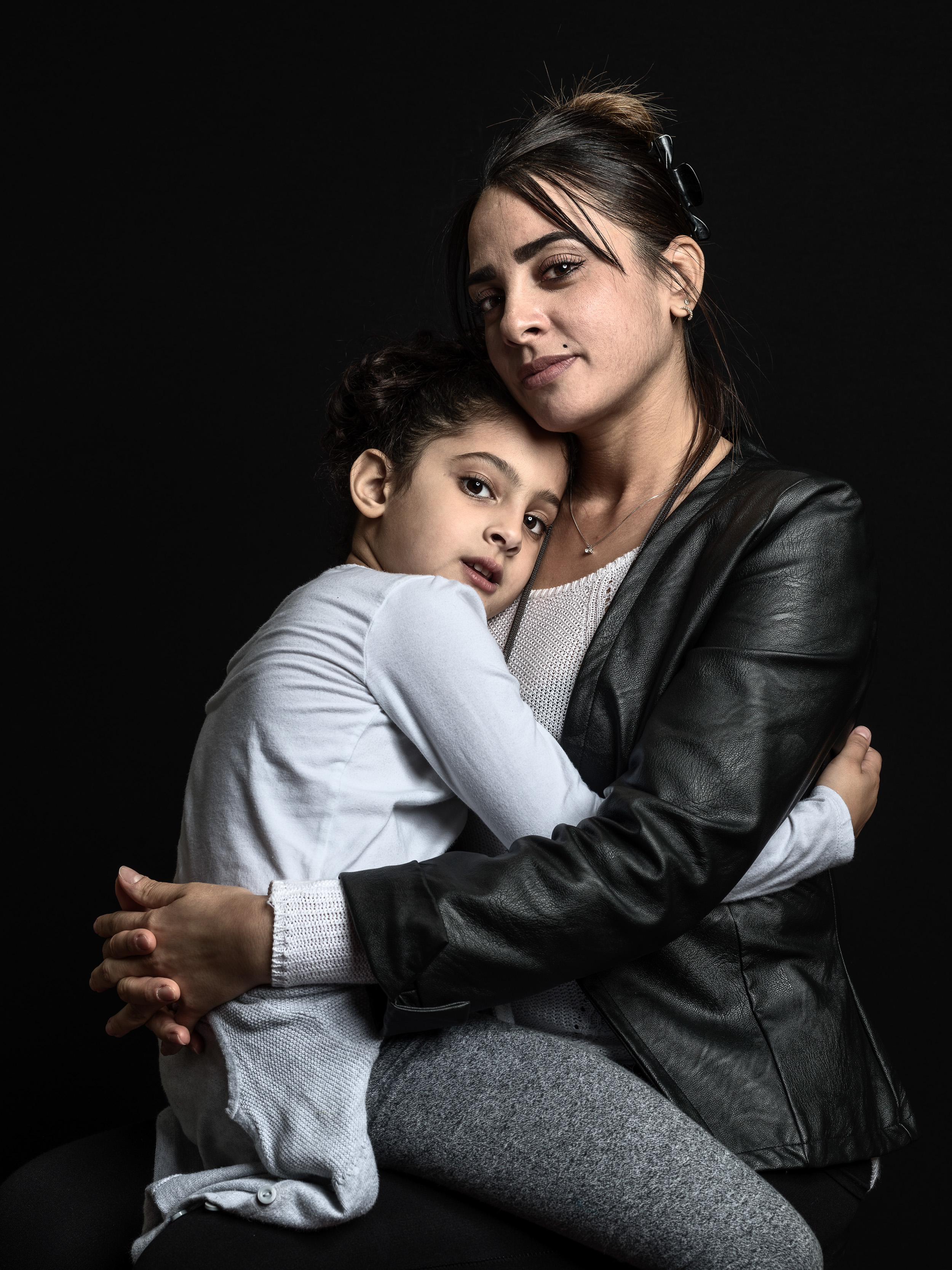 Hager Ben Aouissi (36) with Kenza (6)Survivor of Nice, Promenade des Anglais truck attack and mother of traumatized daughter Nice, France