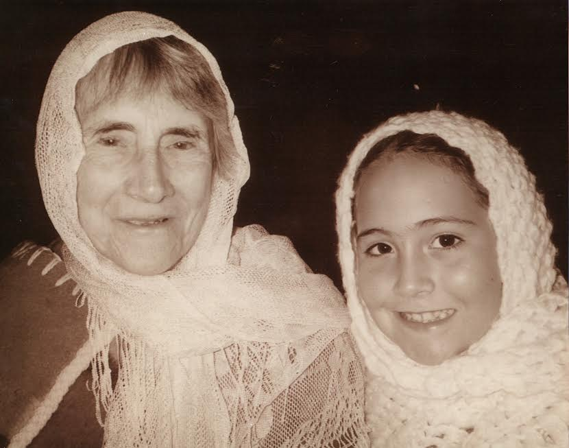Lucy and her maternal grandmother in costume for a reenactment at the old Spanish mission at Tumacacori National Historic Park in Arizona.