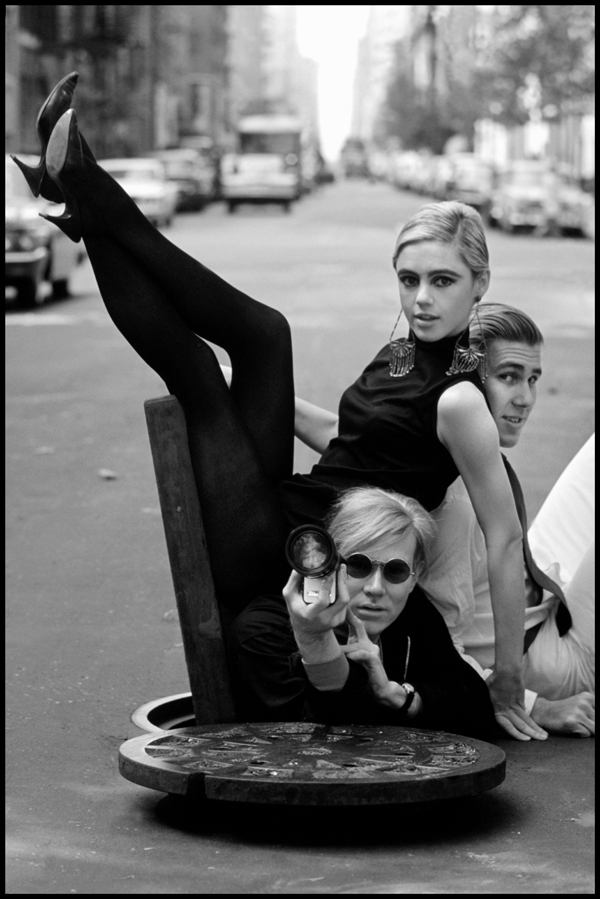 New York,  New York.  1965.  Andy Warhol, Edie Sedgwick and Chuck Wein.