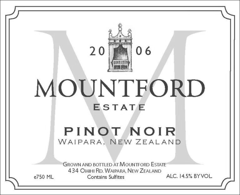 Mountford Estate The Rise PinotPinot Noir 2015 - 95 Points Wine Orbit96 Points Bob Campbell