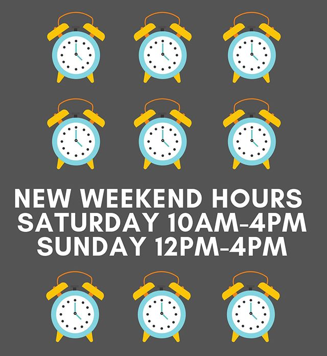 We are switching things up just for YOU for the summer time!  Starting Saturday June 8th we will be opening at 10am-4pm + Sunday's will be 12pm-4pm.  So relax and sleep in! We'll see you all a little later @ The Loft 🖤