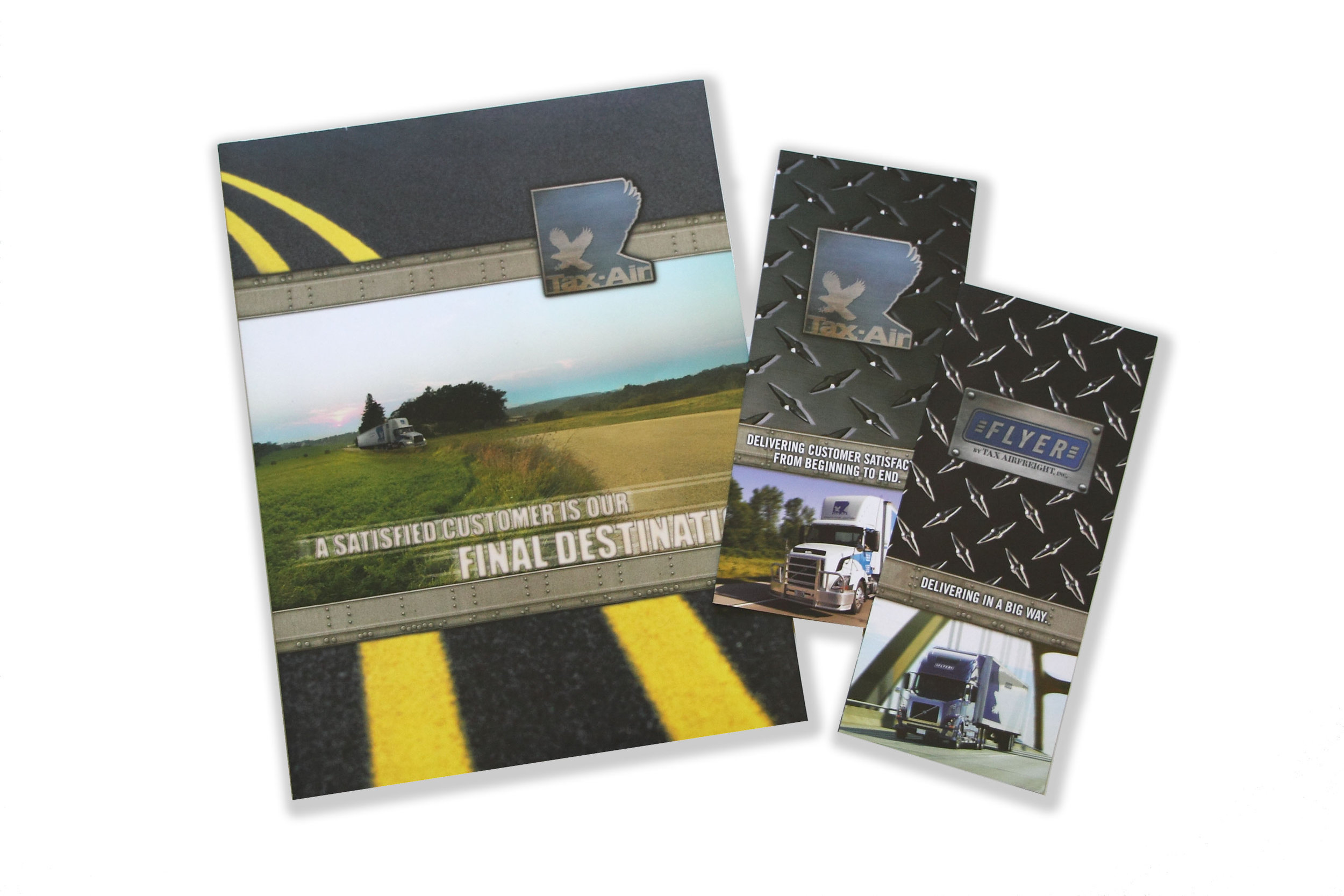 TAX-AIR 30-year-old distribution and transportation company that needed a fresh overhaul. I designed marketing tools that included new identity, sales folder, capabilities brochures, truck signage and recruiting campaign.