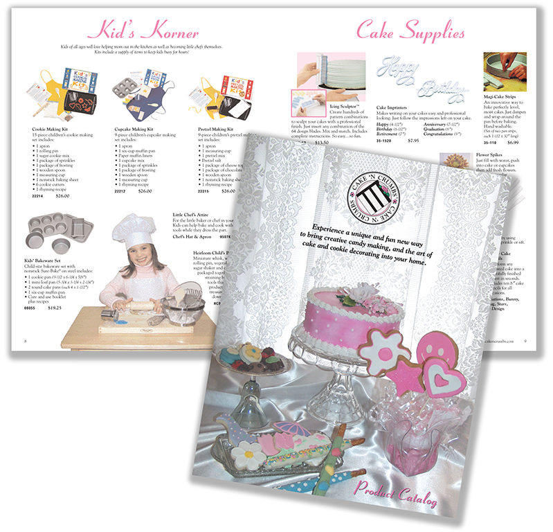 CAKE 'N CRUMBS As Creative Director + Photographer, I was instrumental in this new start-up, direct party sales business that teaches hands-on cake, cookie and creative candy making classes. I created identity pieces including a sales product catalog, marketing materials and website. The new launch led to instructors across nine states.