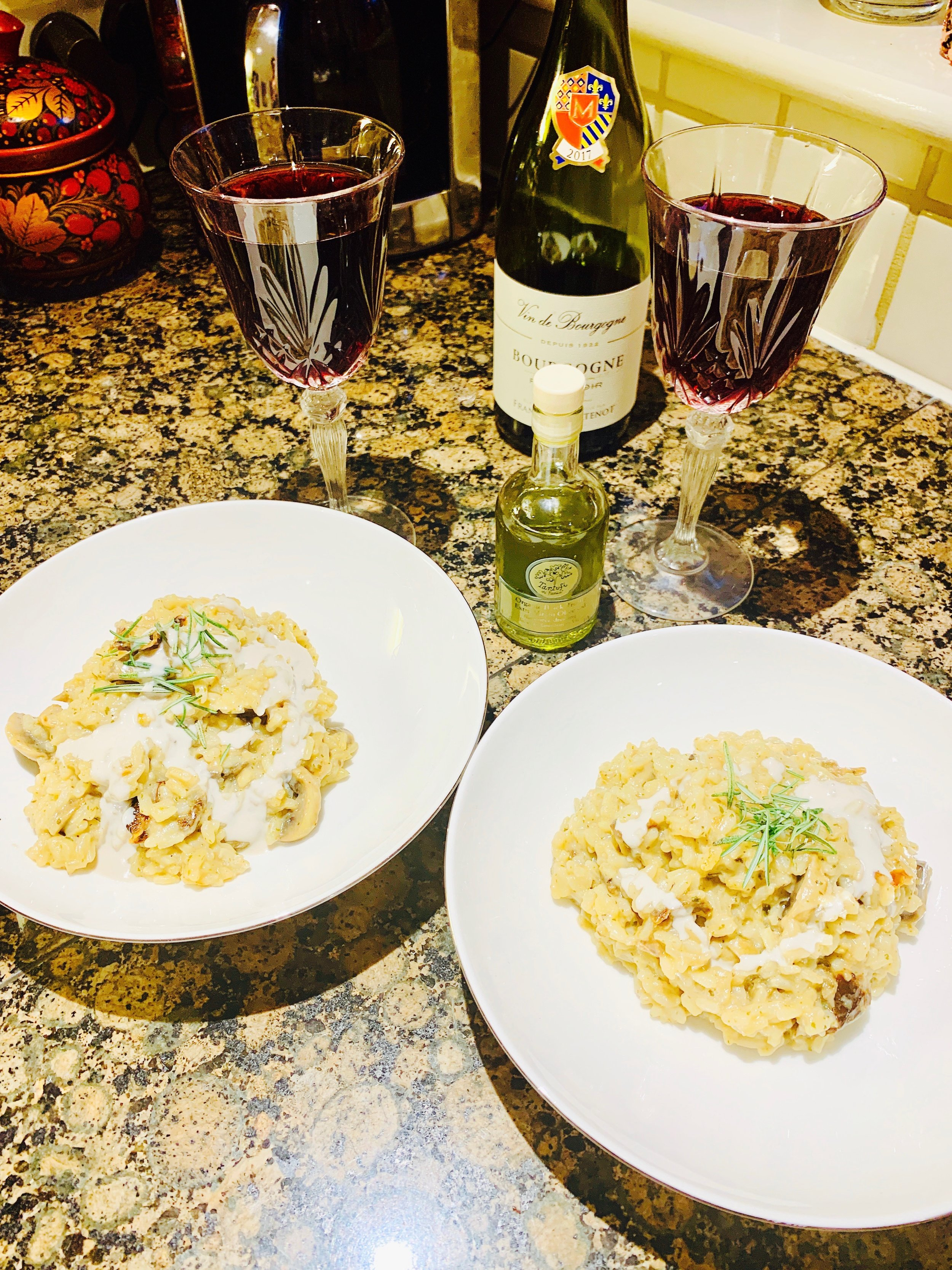 My Black Truffle Risotto was made with Organico Porchini Ristto blend (Ocado, Sainsburys and Whole Foods, and once boiled I added the Cashew Cheese, Truffle and topped with almond cream and some fresh thyme from our garden.   Total Prep time: 15 minutes
