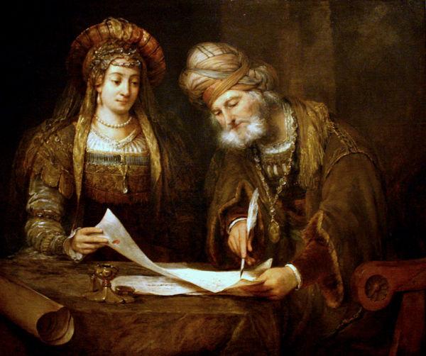 """""""Esther y Mardoqueo escribiendo la primera carta del Purim,"""" by Aert de Gelder (1645–1727)."""