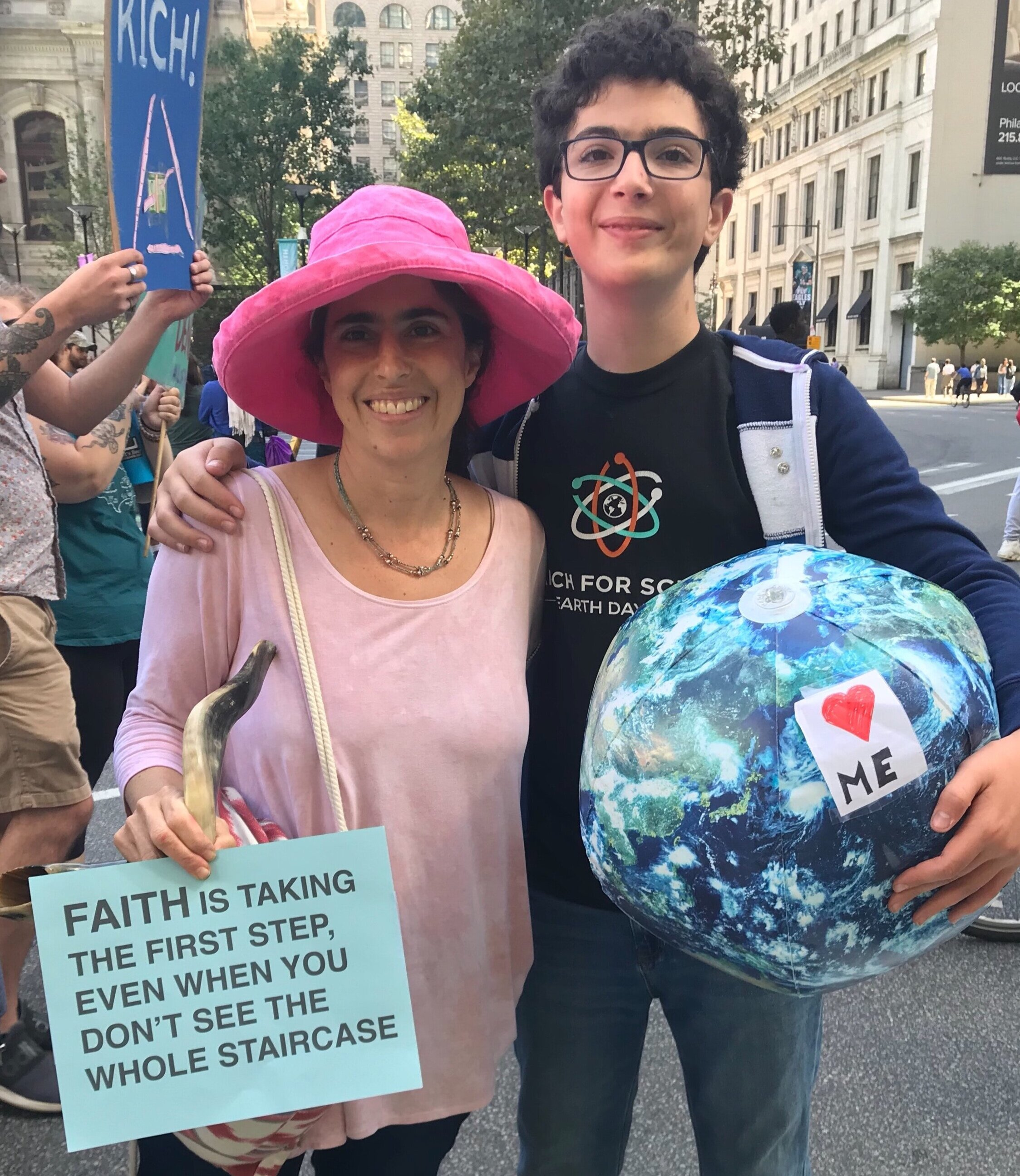 With my son Tani at the September 20 Youth Climate Strike by City Hall in Philadelphia.