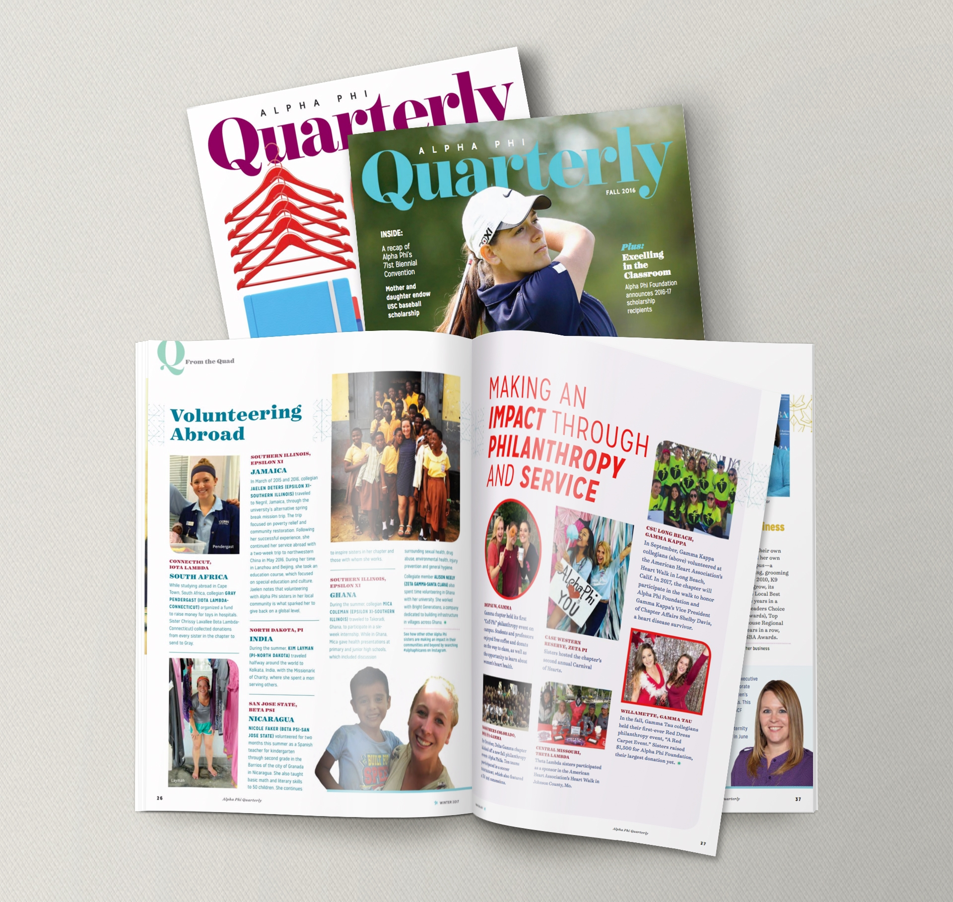 Contributions to Alpha Phi Quarterly Magazine - Contracted by Tria Designs