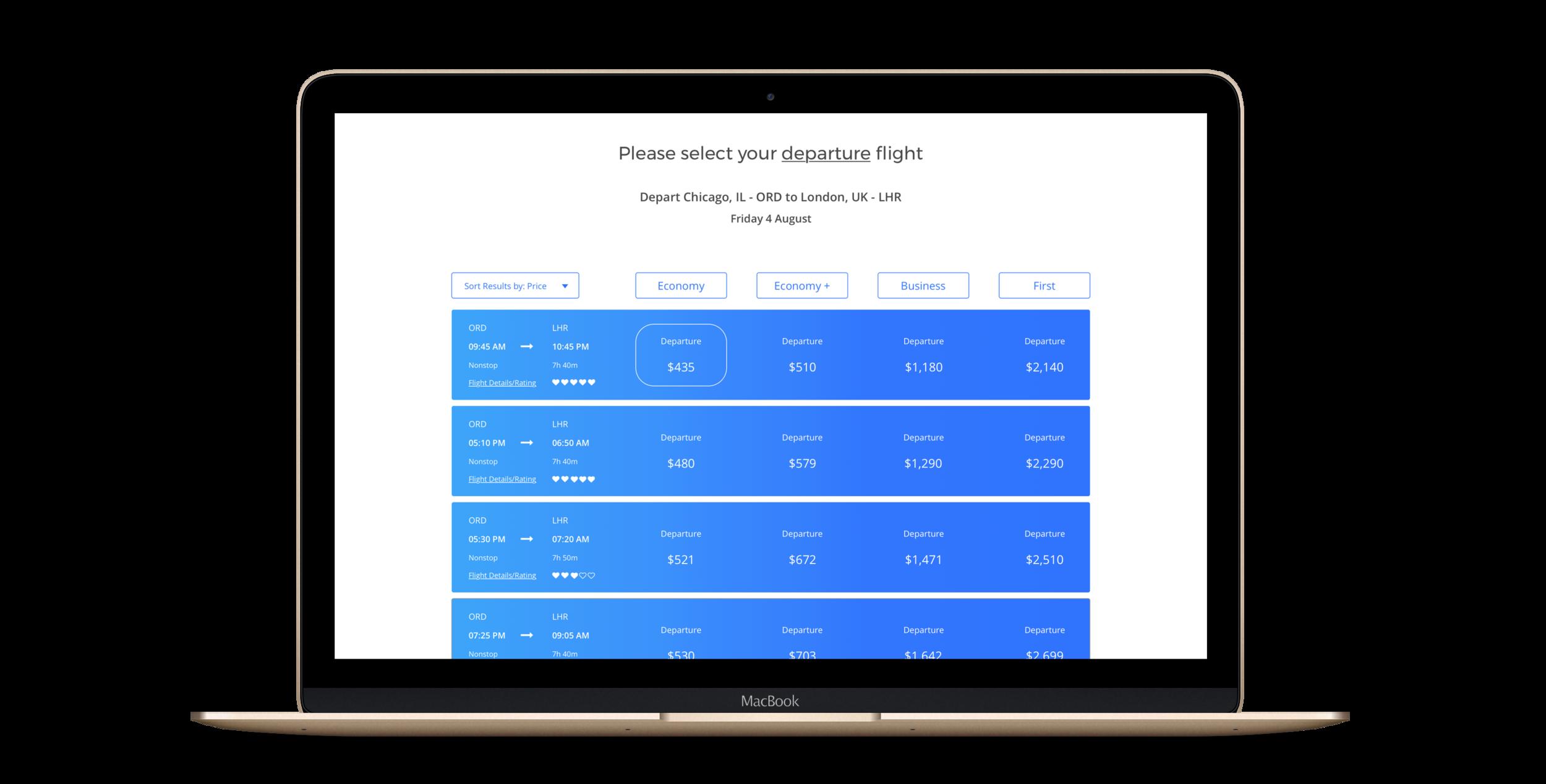Departure Flight Results