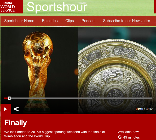 A discussion with BBC Sportshour  on France's World Cup hopes just prior to the July 15th final.