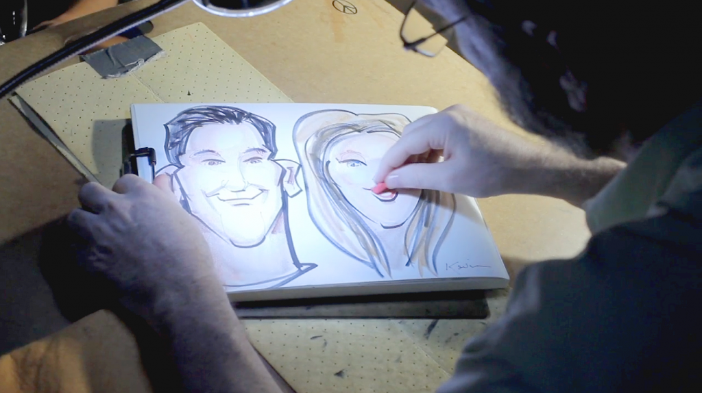 four seasons hotel austin wedding pic 23 caricature artist