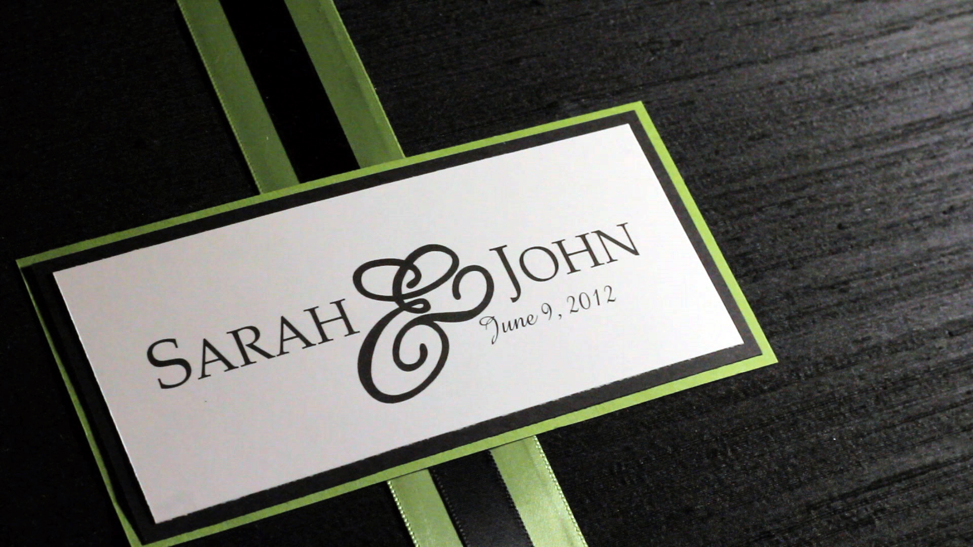 Sarah and John's name card