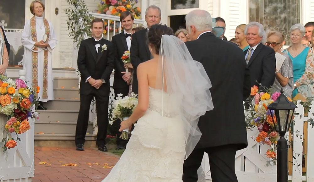 victorian backyard wedding 29 bride entrance groom reaction
