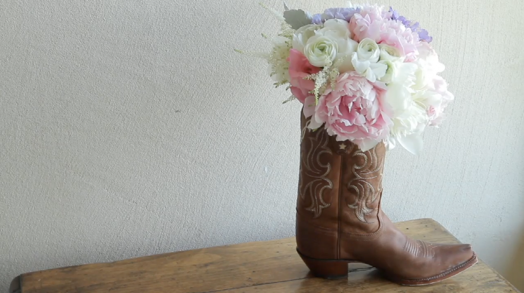 rough creek lodge wedding video pic 09 cowboy boot