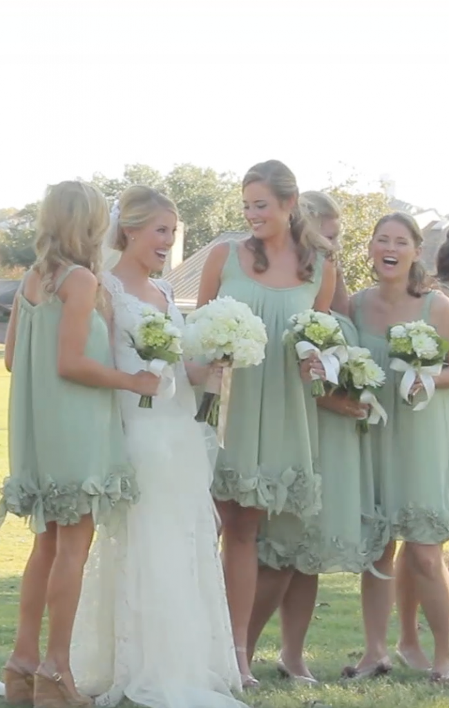 bridesmaid green white wedding dress pic 01