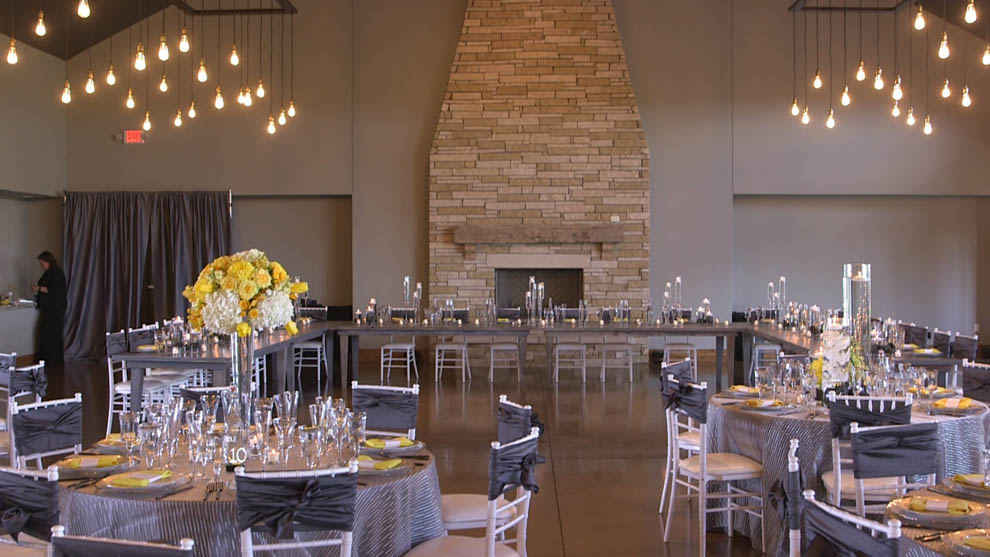 canyon wood ridge wedding reception with yellow flowers