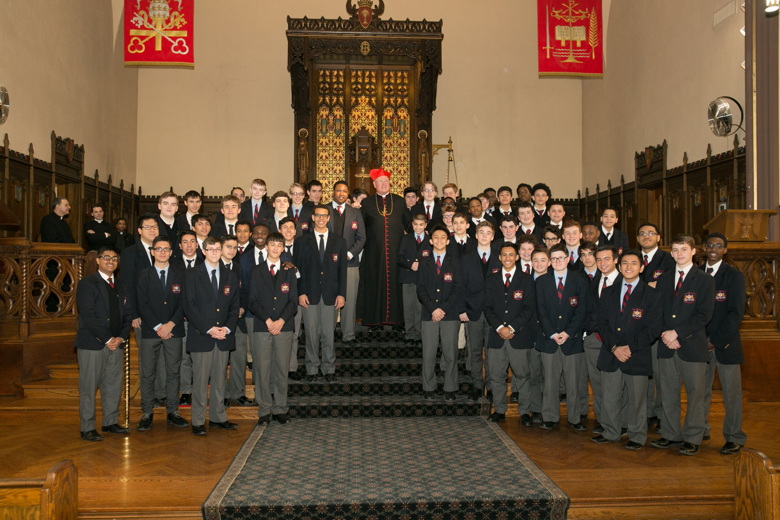 Montfort boys with His Eminence Timothy Cardinal Dolan