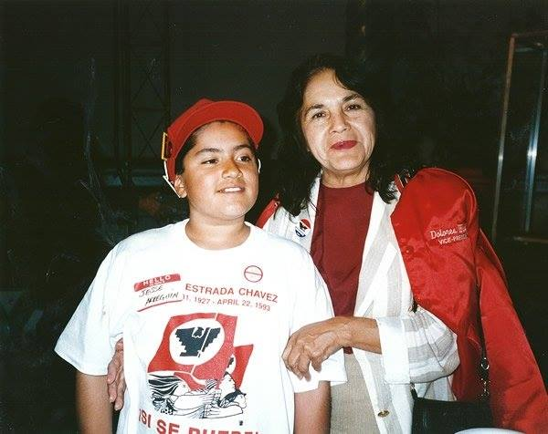 A young Jesse with Dolores Huerta while campaigning to establish Cesar Chavez Street in San Francisco.