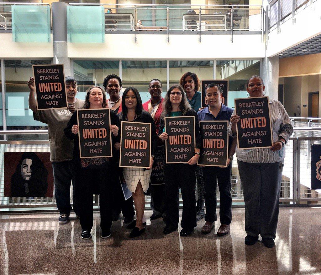 "Members of Berkeley City College hold ""Berkeley Stands United Against Hate."""