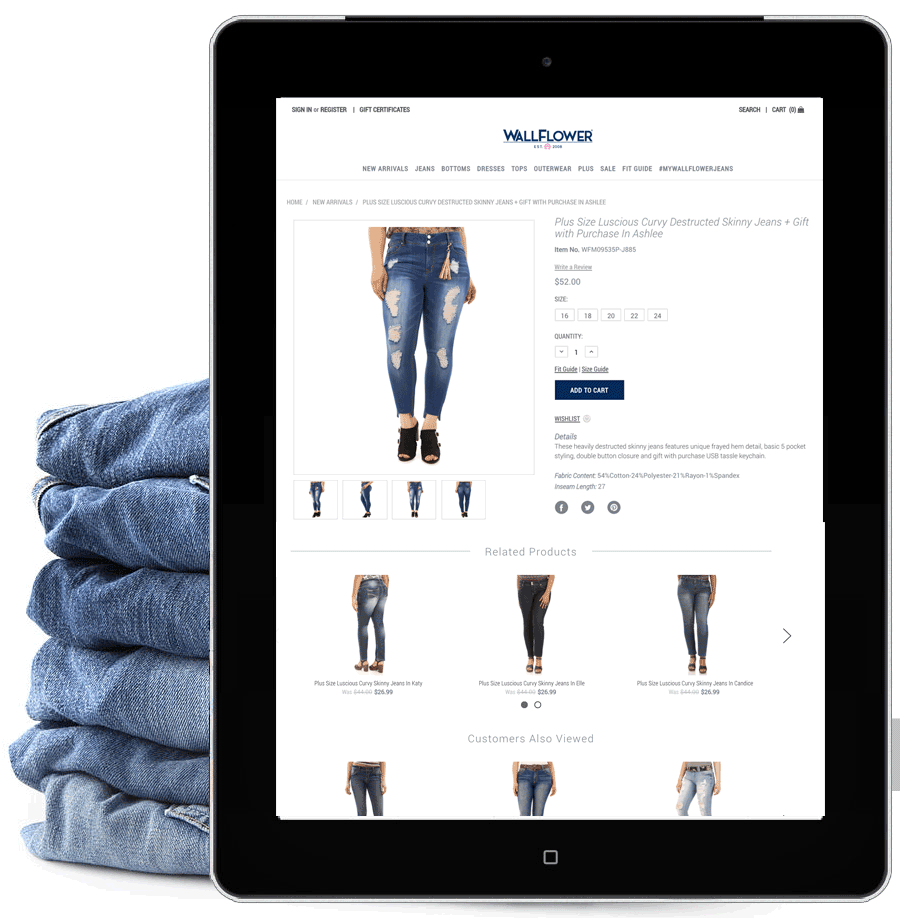 WallFlower Jeans - The venerable Mamiye Brothers group, which has supplied a wide variety of retailers with apparel for decades, wanted to test the B2C waters. In order to facilitate this move they came to Modelic for options. Bigcommerce stood out as an ideal choice for all their licensed brands. This site was the first iteration in line of roll-outs.Overview:_B2C Strategy_New Bigcommerce Back-end_New user interface_Client education