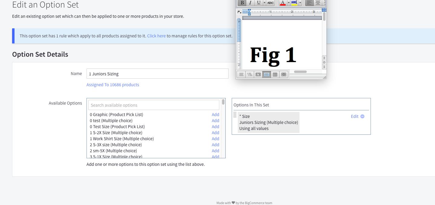 Bigcommerce Option Set Example 1