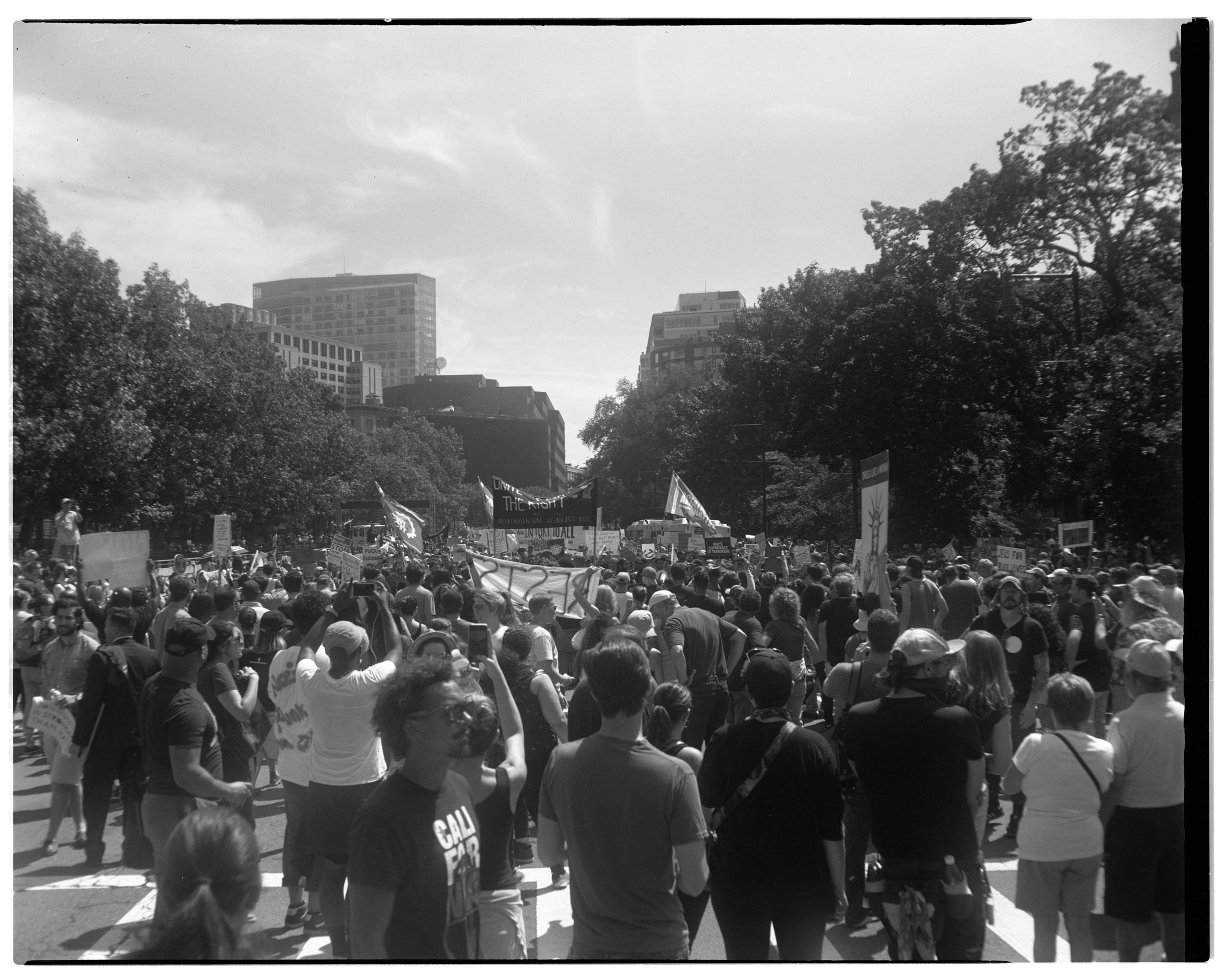 """The """"free speech"""" rally dispersed and the crowd flowed down Boylston. You could hear the drums from the top of Beacon Hill."""