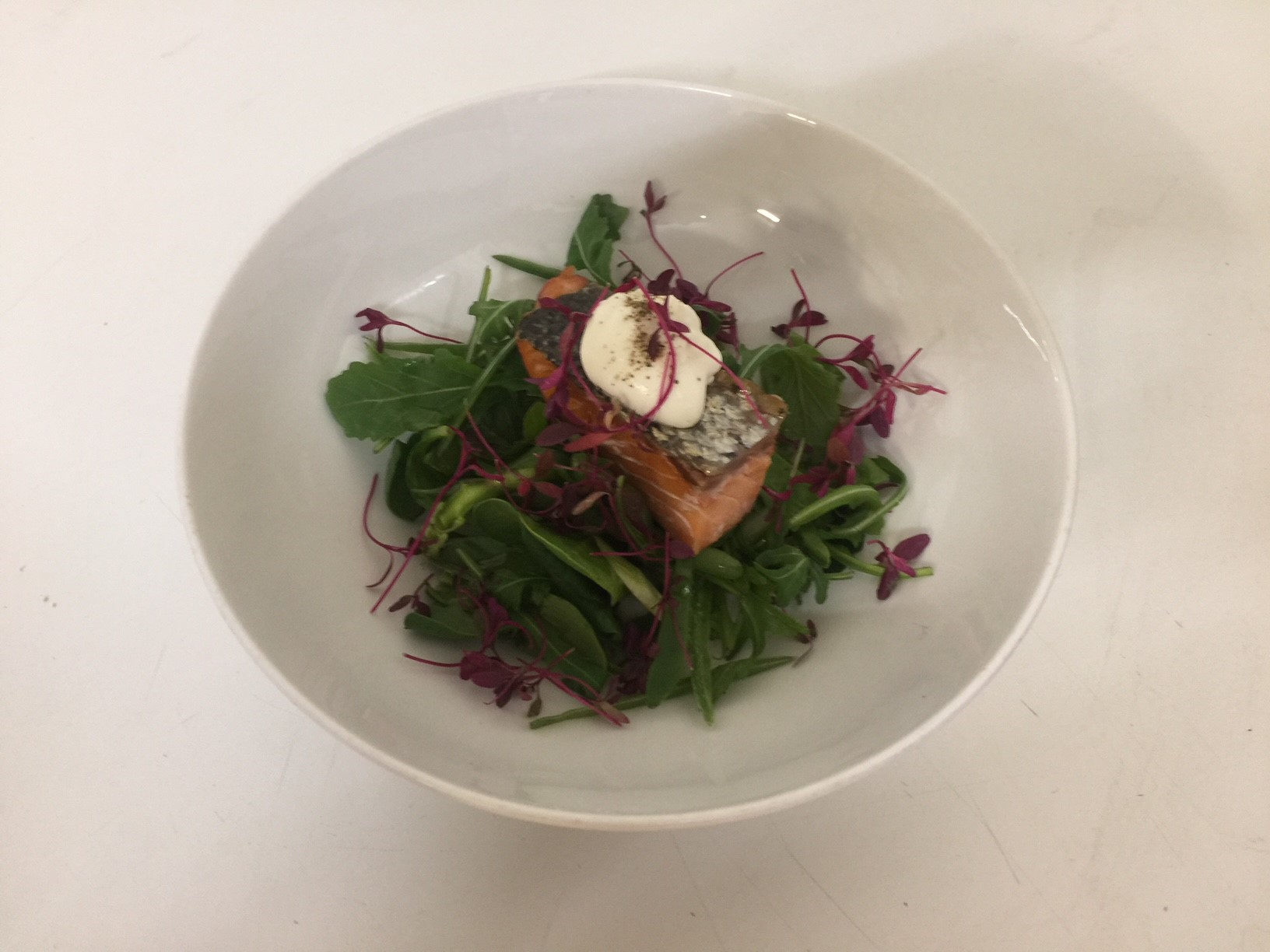 Hot Smoked Scottish Salmon - Shaved Raw Green Salad, Red Amaranth & Crème Fraiche
