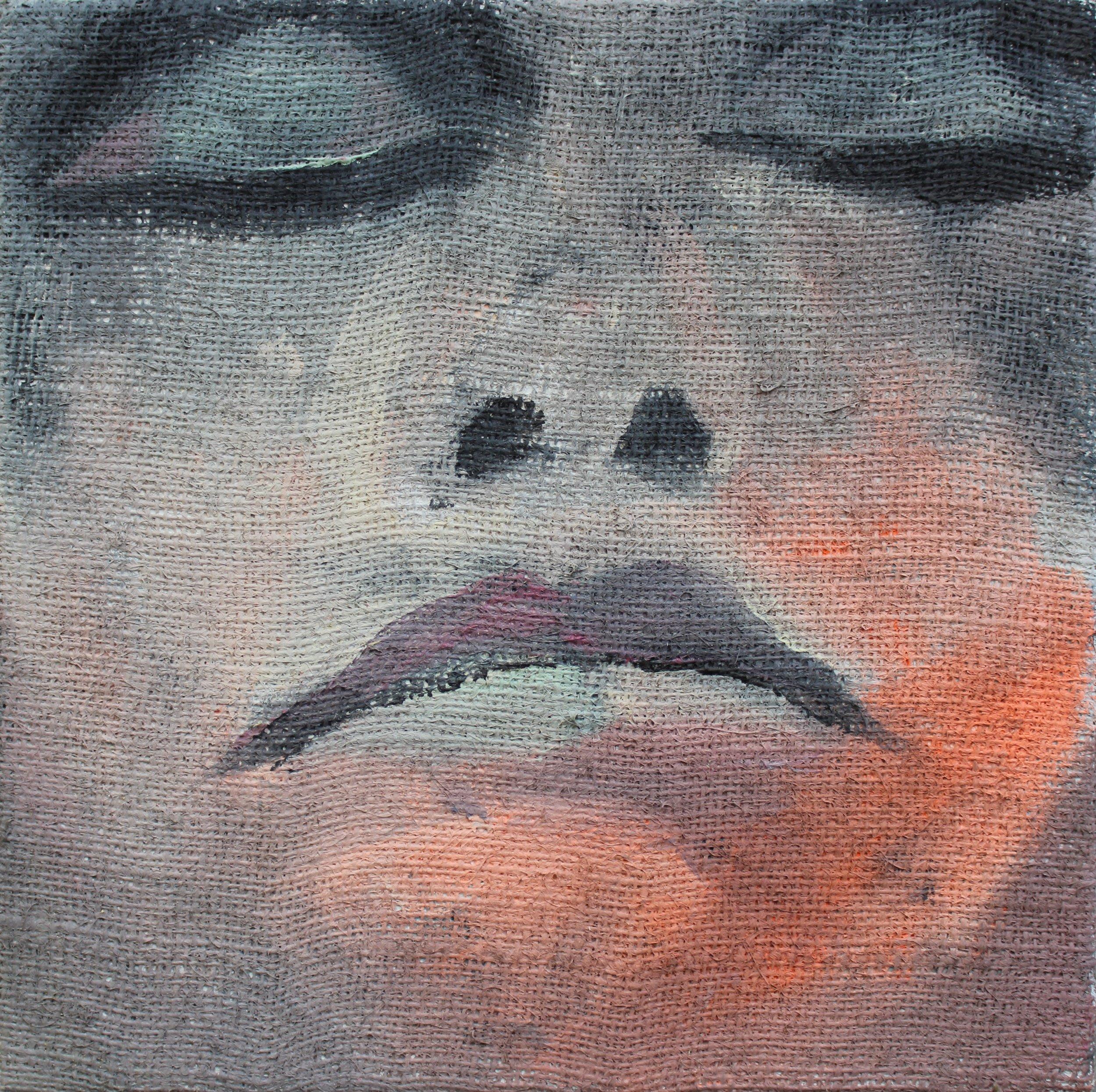 "How Do You Feel Today?   acrylic on burlap  14"" x 14""  2018   AVAILABLE"