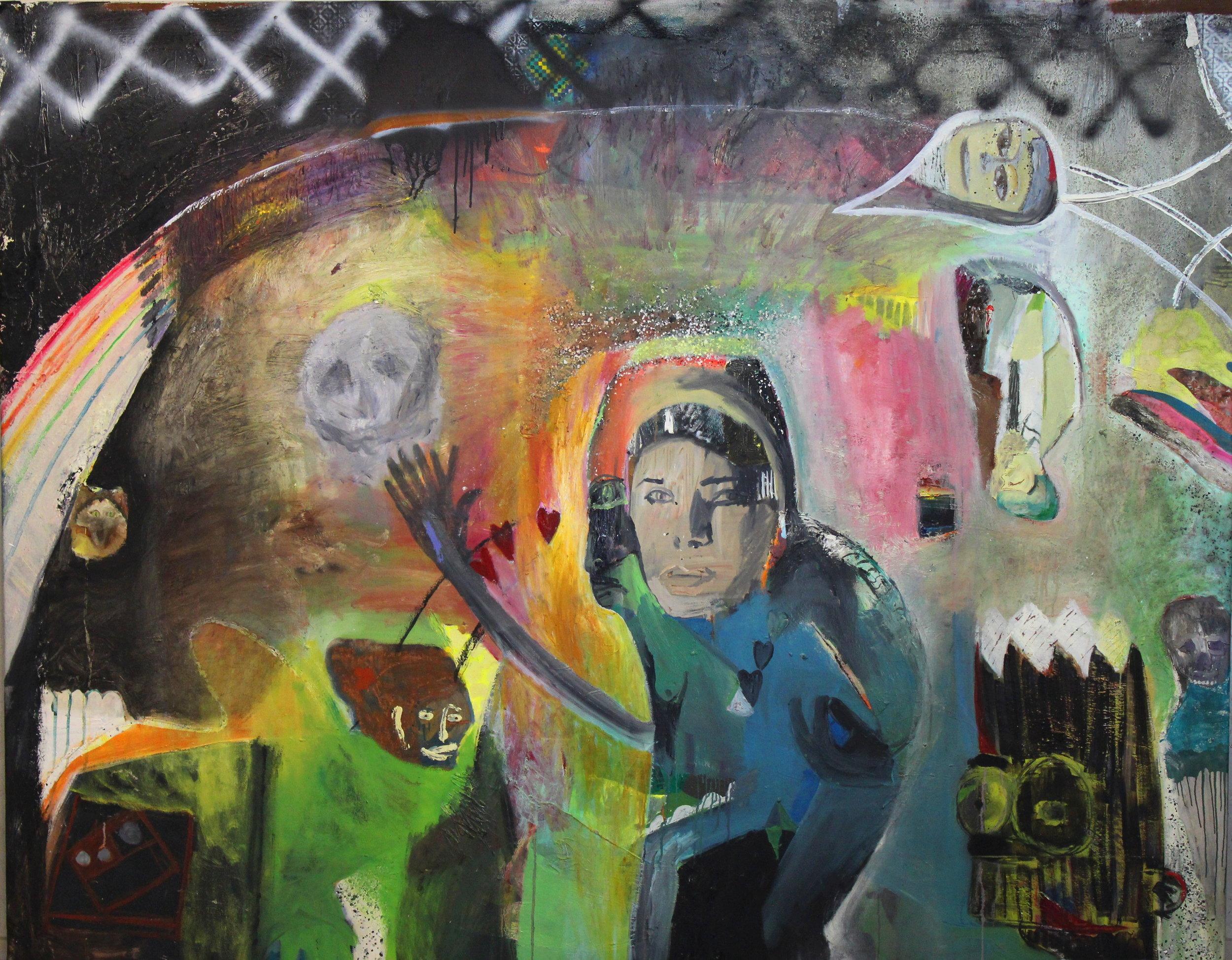 "The Very Last Day   acrylic, oil, glitter, spray paint on canvas  66"" x 83 1/2""  2018   Available through The Red Arrow Gallery, Nashville, TN"