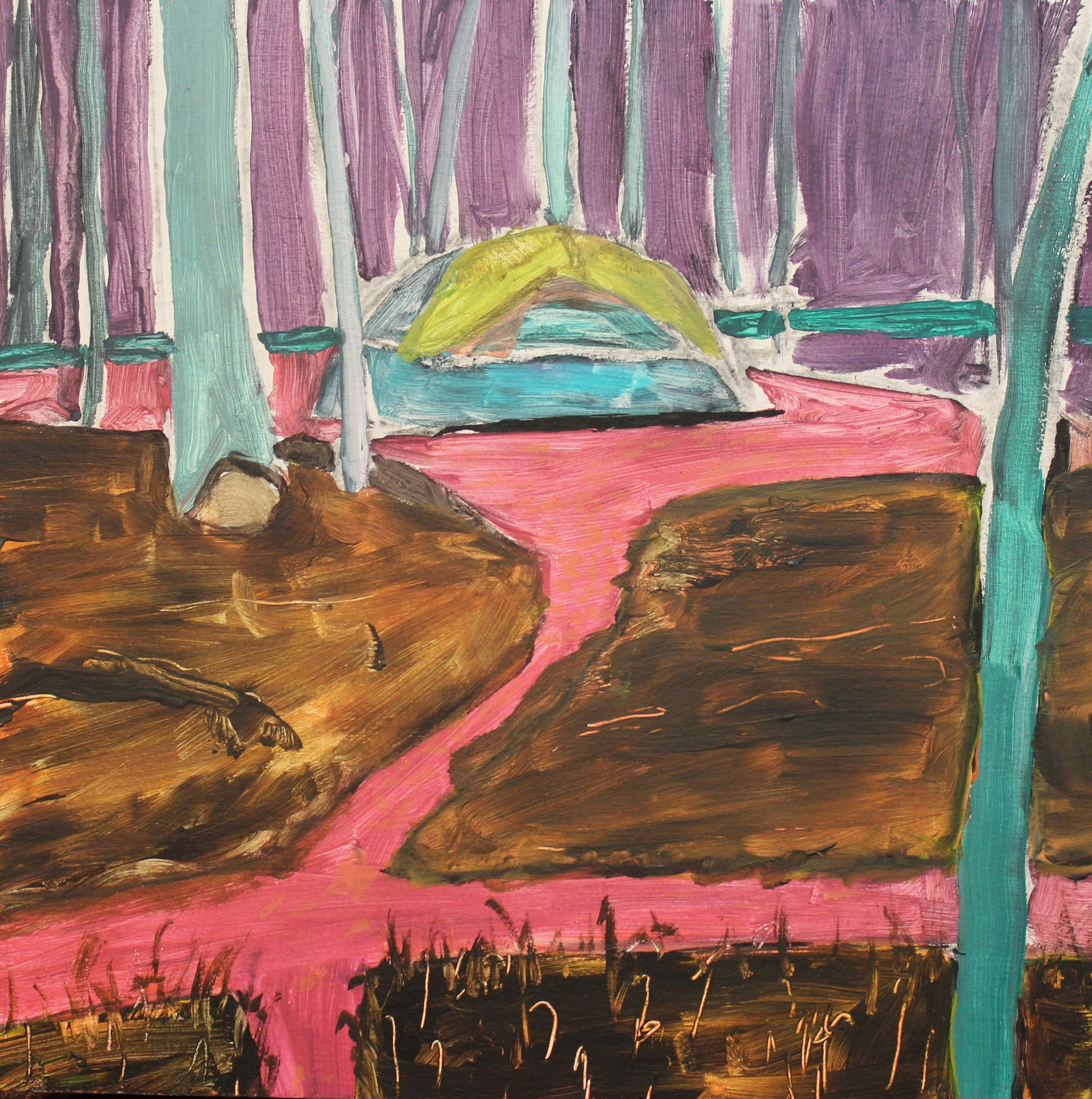 "Tent  acrylic on wood  10"" x 10""  2018"