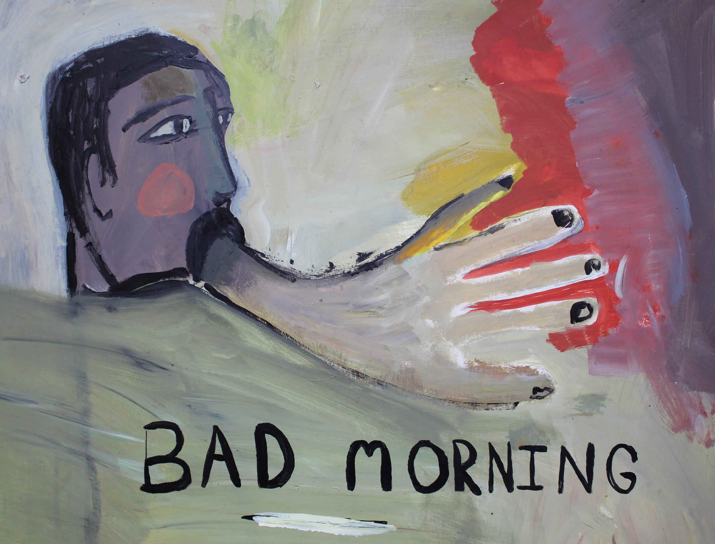 "Bad Morning   acrylic on mat board  13"" x 16 1/2""  2016   Available through The Red Arrow Gallery, Nashville, TN"