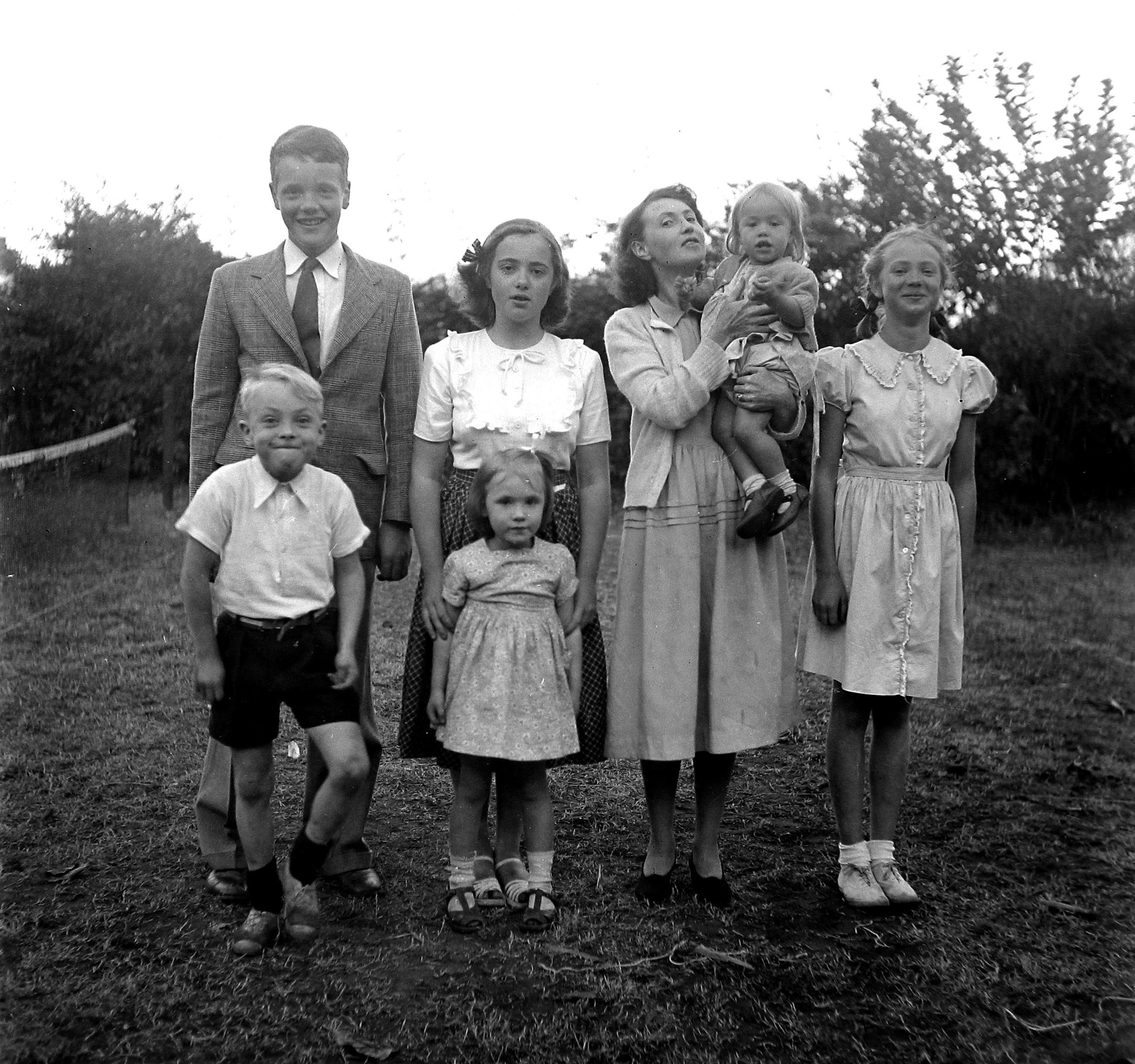 Odhner Family 1948. Back: Pehr, Kirstin, Mother (holding Siri), and Jeannette. Front: Michael, Rachel. (Dad was taking the picture.)