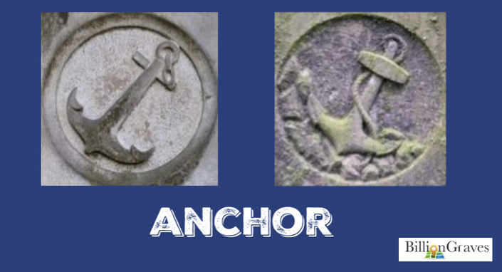"Anchor - Sometimes an anchor was carved on the gravestones of the seamen since it was their last resort in a storm. But more often, the anchor on a gravestone was a symbol of hope. The Bible references an anchor in connection with hope in Hebrews 6: 18-19, ""…Those without hope may be like a ship tossed on the sea, their emotions being carried in every direction."" The anchor would remind family member visiting the grave to hold on to the hope of seeing their loved one again.To members of the Freemasonry, the anchor represented well-grounded hope, a life well-spent, and eternal tranquility."