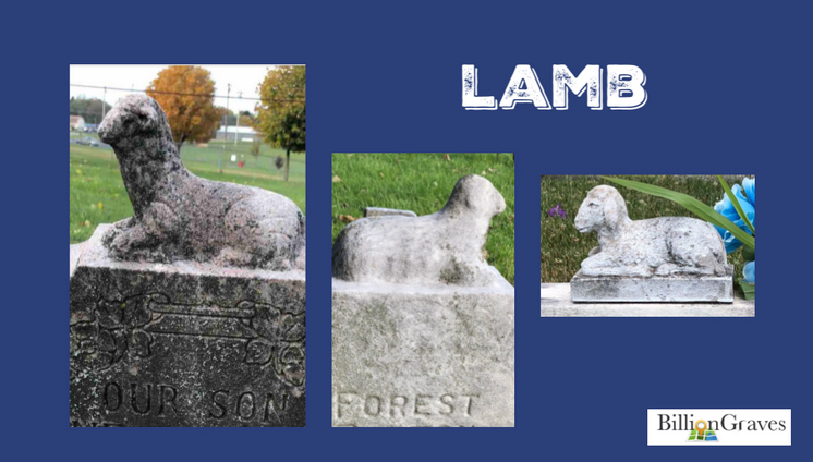"Lamb - Lambs are the most common animal symbol on children's gravestones.Sheep are instinctive follower too. They tend to follow the sheep in front of them no matter where they are going. I once attended a sheep parade, where cowboys on horses guided thousands of sheep down the street. When one sheep took a wrong turn up a side street, hundreds of sheep followed. Cowboys and their dogs chased them on hot pursuit, trying to get the parade back on the scheduled route. Likewise, small children are naturally submissive and loyal to those who lead them.To Christians, lambs are also a symbol of Christ, ""Behold the lamb of God, which taketh away the sin of the world"" (Holy Bible, John 1:29)."