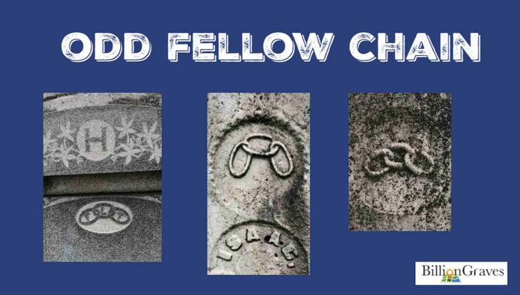 "Odd Fellow Chain - If you notice a chain with three links on your ancestor's gravestone you will know that they were a member of the Independent Order of Odd fellows. The Independent Order of Odd Fellows is a fraternal organization, founded 1819 in Baltimore, Maryland. It evolved from the Order of Odd Fellows, founded in England during the 1700s.Odd Fellows recognize the inevitability of death, so they ask themselves, ""How will I spend my life?"" With this self-awareness, an Odd Fellow then seeks to master their thoughts and actions. They focus on serving others.The three links of an Odd Fellow chain may sometimes have the letters, ""F"", ""L"", and ""T"" on them. These letters stand for friendship, love, and truth. Odd Fellows seek to know and accept their own strengths in humility, without boasting. They strive to overcome their weaknesses without being critical of the weaknesses of others. They seek to be a friend to all and try to think carefully before acting or speaking.The Independent Order of Odd Fellows may now be found in more than 30 nations."