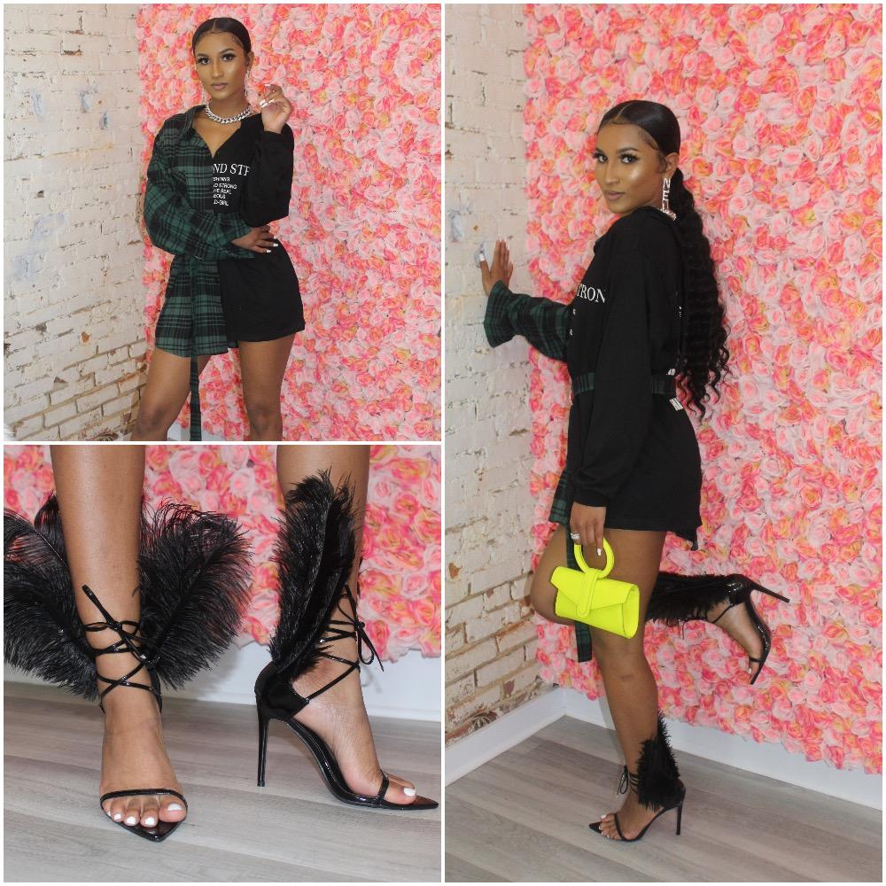 Neon Yellow Bag - $32  Feather Heels - $90