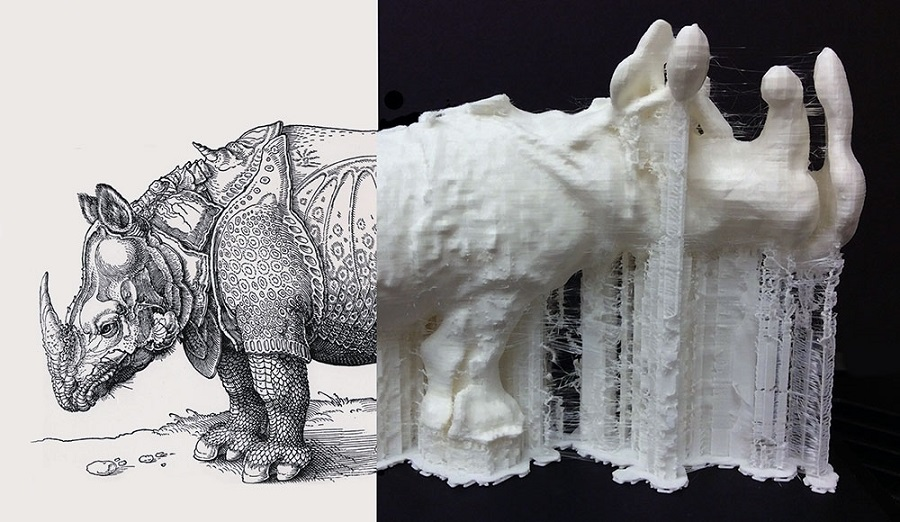 "AD/3D     (detail), 2015     Plastic, Wood and Print, 3D Print from Digitized Rhinoceros  , 13"" x 15"" x 9"" (includes base)      Rhinoceros  , 1515     Framed Print by Albrecht Dürer  , Facsimile Printed by Reichdruckerei, Berlin, c. 1920"