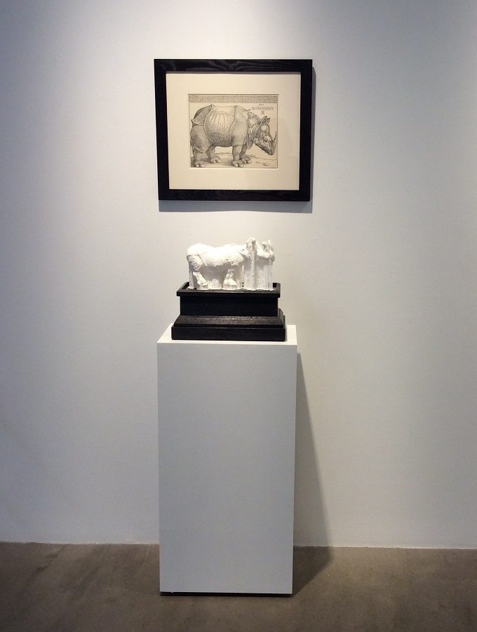 "AD/3D    , 2015 (Edition of 3)    Plastic, Wood and Print, 3D Print from Digitized Rhinoceros  , 13"" x 15"" x 9"" (includes base)      Rhinoceros  , 1515     Framed Print by Albrecht Dürer  , Facsimile Printed by Reichdruckerei, Berlin, c. 1920"