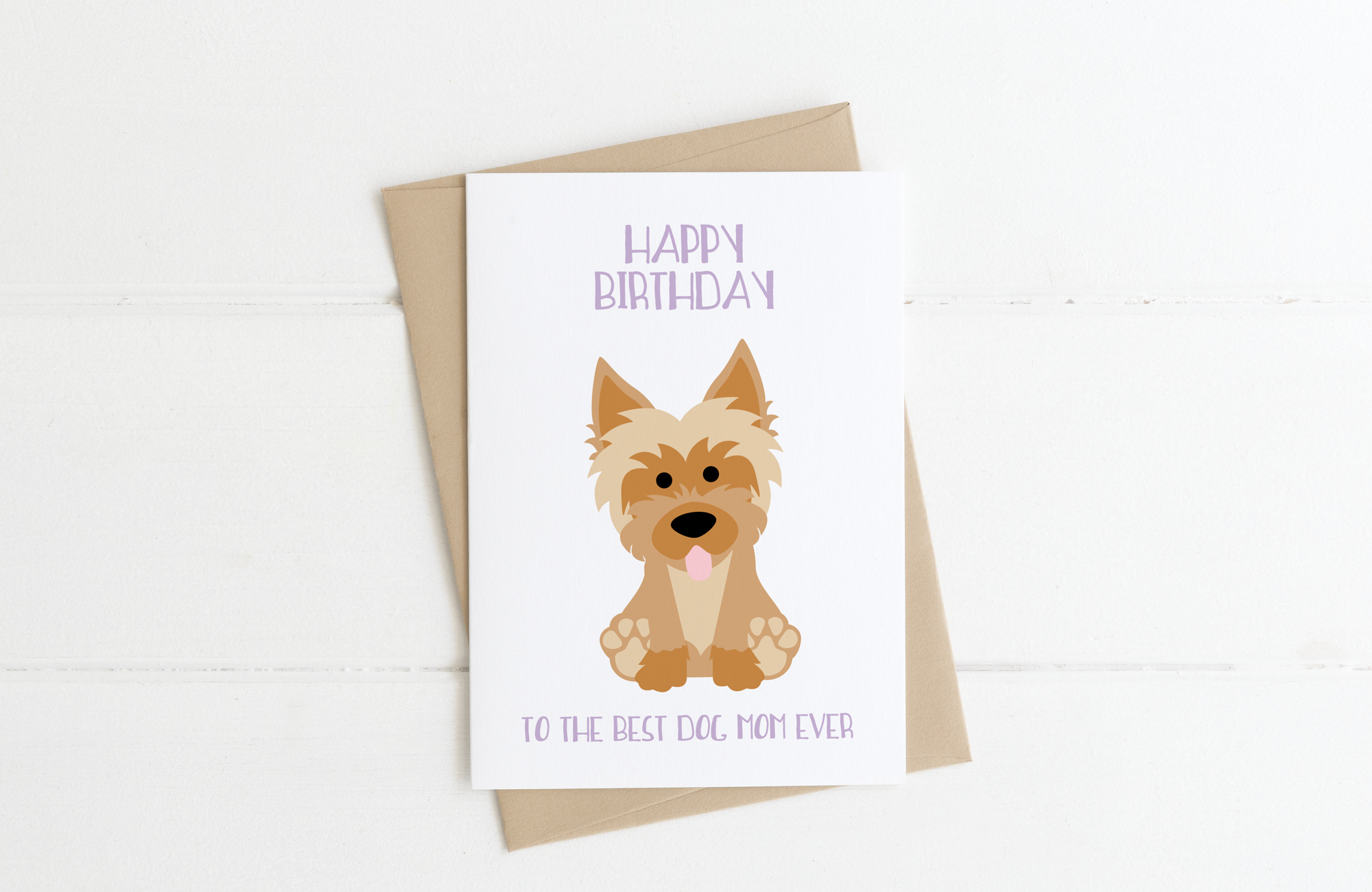 Yorkie Dog Mom Birthday Card